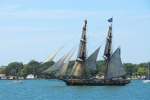 BRIG NIAGARA IN HARBOR FULL SAIL - COPYWRITE JOHN E. REES.