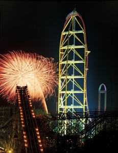 Fireworks display at Cedar Point in Sandusky, Ohio.